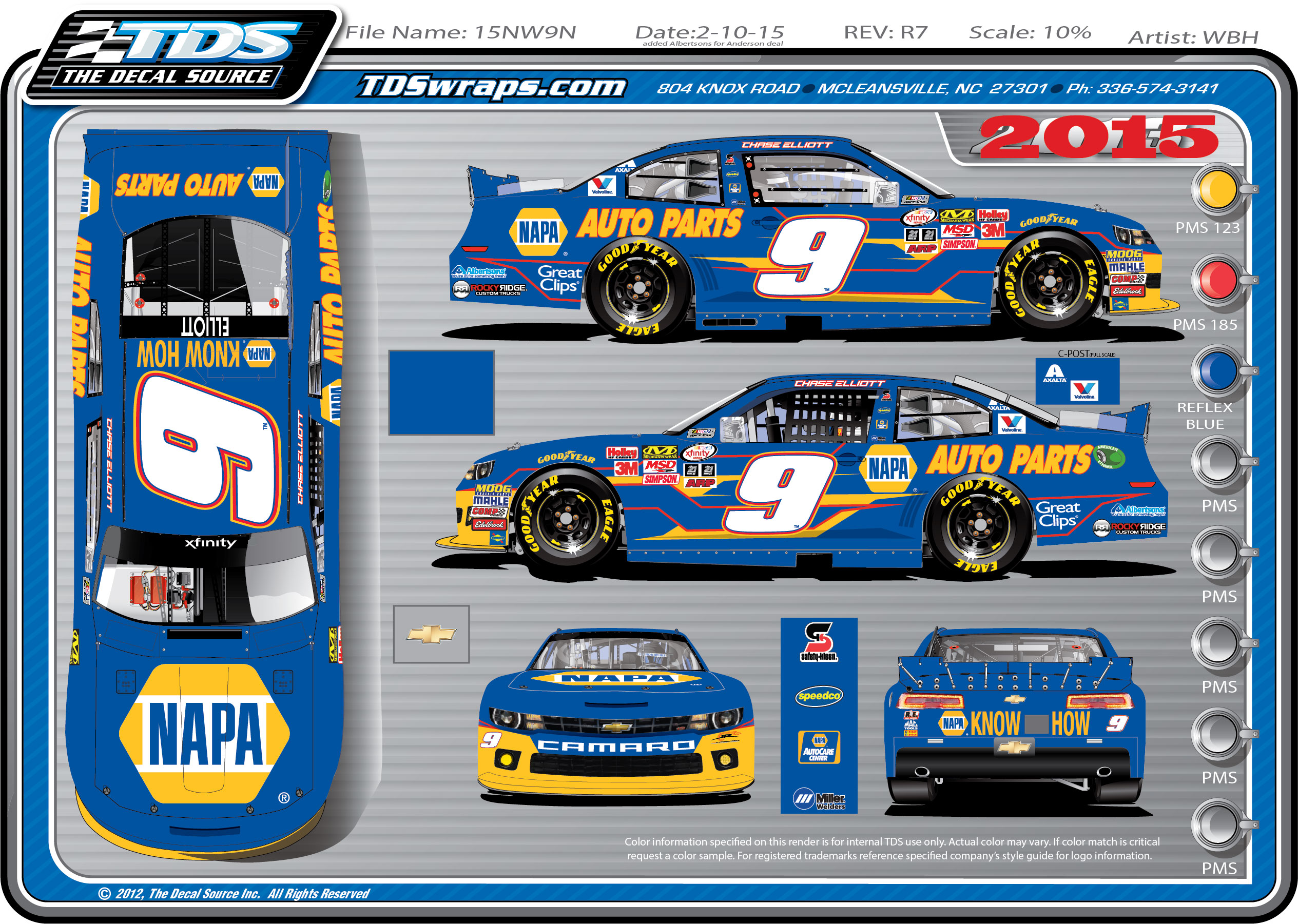 Layout of the #9 2015 JRM / Anderson's Maple Syrup Chevrolet driven by Chase Elliott
