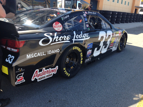 Brian Scott's Sprint Cup car for the Homestead 2014 fall race, with Shore Lodge and Anderson's Maple Syrup.