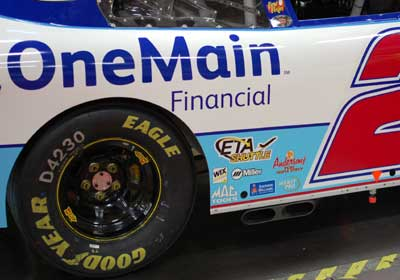 Picture of the Anderson's Maple Syrup logo on #2 KHI Chevrolet driven by Elliott Sadler.