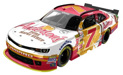 Regan Smith's 2015 #7 JR Motorsports / Anderson's Maple Syrup Chevy Camaro.