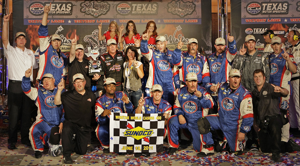 Picture of the #33 crew wearing Anderson's Maple Syrup hats after winning at Texas in June.